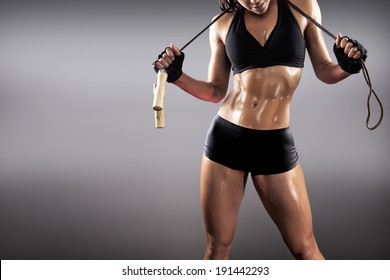 muscular fit woman exercising