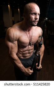 Muscular Fitness Bodybuilder Doing Heavy Weight Exercise For Triceps On Machine In The Gym