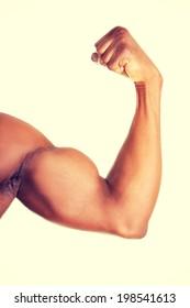 Muscular hand close up of man