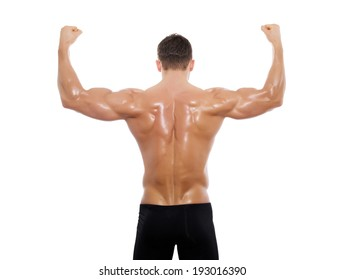 muscular male back isolated on white