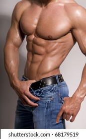 The muscular male body  on white background.