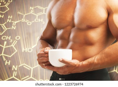 Muscular male body and testosterone hormone formula. Concept of a strength workout and anabolic steroids usage.