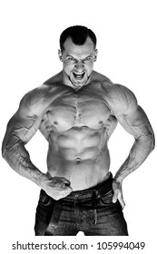 Muscular male bodybuilder on white background B&W