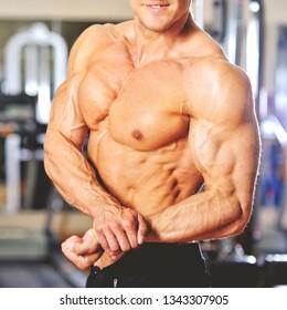 Muscular male bodybuilder torso - close up