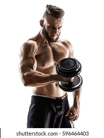Muscular male with dumbbell isolated on white background. Photo of strong male with naked torso. Strength and motivation.