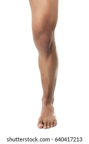 Muscular male leg isolated on white background
