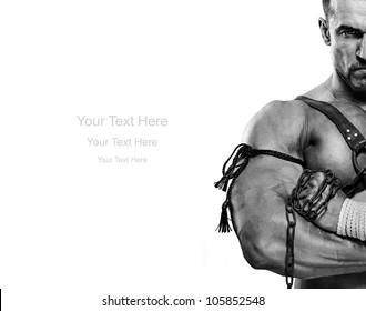 muscular male portrait of ancient warrior b&w