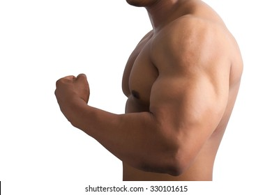 Muscular male showing big arm muscles isolated on white background.