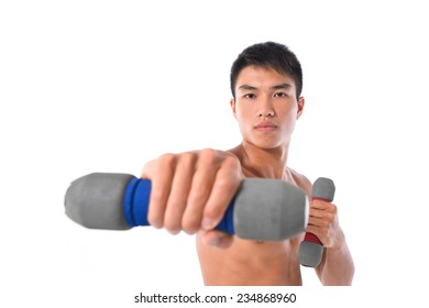 Muscular male torso doing barbell press in gym