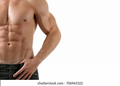 Muscular male torso isolated on white background