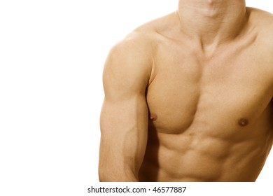 Muscular male torso on white background