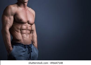 Muscular male torso in studio