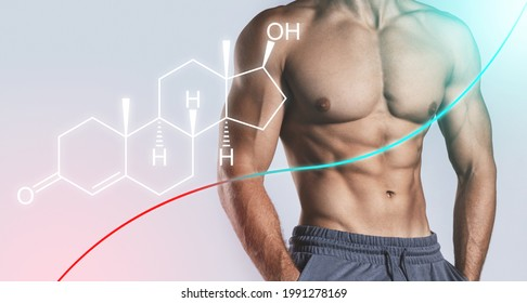 Muscular male torso and testosterone formula against gray background. Concept of hormone increasing methods.