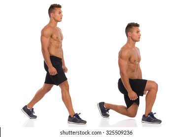 Muscular man does a split squat, lunges, side view, step by step. Full length studio shot isolated on white.