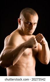 muscular man fighting