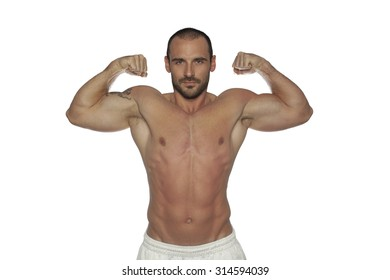 Muscular man pose,isolated on white