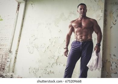 Muscular man posing outdoor. Abdominal Muscle, Summer, The Human Body, Handsome, Men.