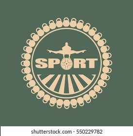 Muscular man posing. silhouette. Bodybuilding coat of arms. Sporty style stamp