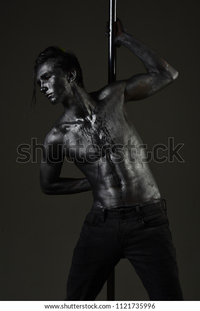 Muscular Man Silver Body Art Dancing Stock Photo Edit Now 1121735996