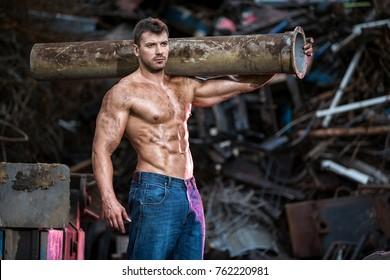 Muscular man at work