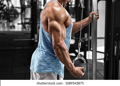 Muscular man working out in gym doing exercises at triceps, strong male