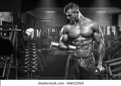 Muscular man working out in gym doing exercises with dumbbells at biceps, strong male abs