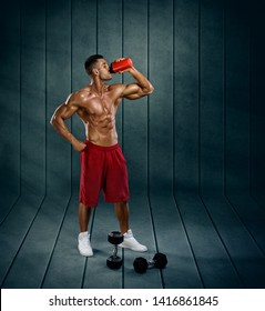 Muscular Men Drink Protein Shake, Energy Drink