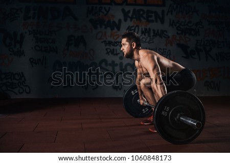 Muscular Men Lifting Deadlift Crossfit Gym Stock Photo Edit Now