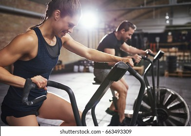 Muscular people doing cardio on exercycles in gym. Horizontal indoors shot