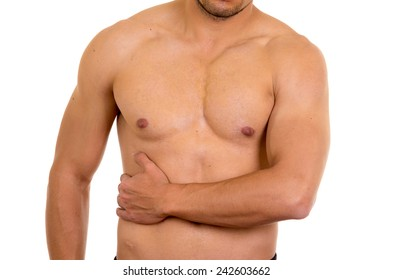 muscular shirtless man with right abdomen pain isolated on white