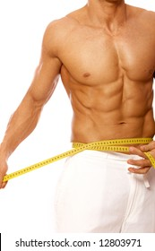 Muscular and tanned male body parts is being measured