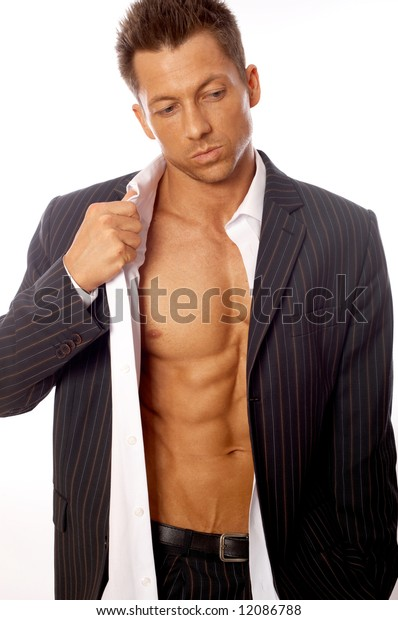 Muscular and tanned male isolated on white