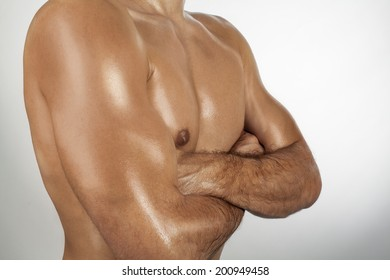 Muscular Torso. Naked, muscular torso of the athletic man