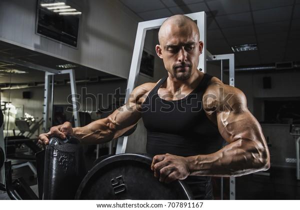 Muscular White Aesthetic Bodybuilder Fitness Model Stock
