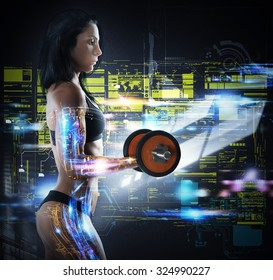 Muscular woman trains while the monitor technologically
