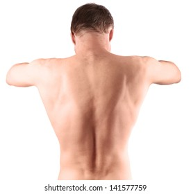 Muscular young male naked back isolated on white background