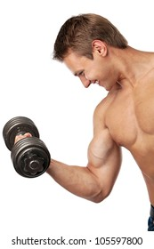 Muscular young man lifting a dumbbell over white