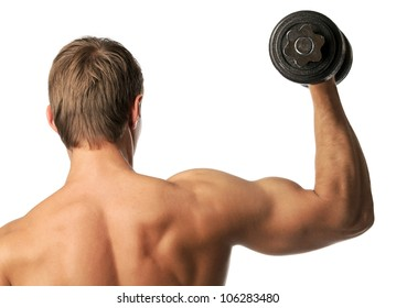 Muscular young man lifting a dumbbell over white, rear view