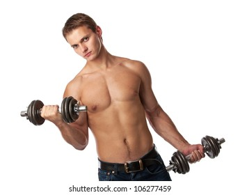 Muscular young man lifting weights over white