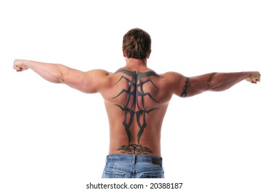 Muscular young man's torso isolated on a white background