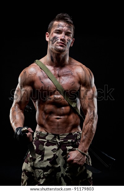 Muscular Young Sexy Naked Soldiers Weapons Stock Photo