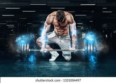 Muscular young sports man workout with barbell in gym. Energy fitness motivation.