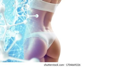 Muskuläre junge Frau, bedeckt von blauen Wasserkanüle nahe der Molekülkette. Erfrischungskonzept.