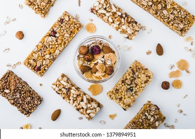 Museli, cereal, granola protein energy bars