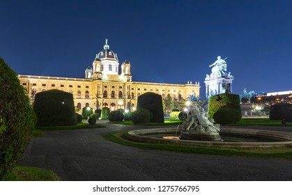 Museum of Art History (Kunsthistorisches museum) on Maria Theresa square (Maria-Theresien-Platz) at night, Vienna, Austria