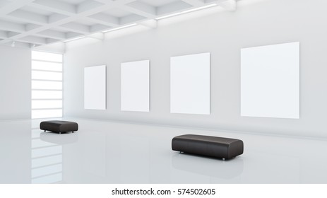 Museum with blank canvases and leather seats 3d rendering