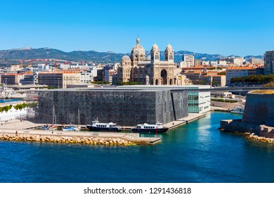 Museum of European and Mediterranean Civilisations and Marseille Cathedral in Marseille city in France