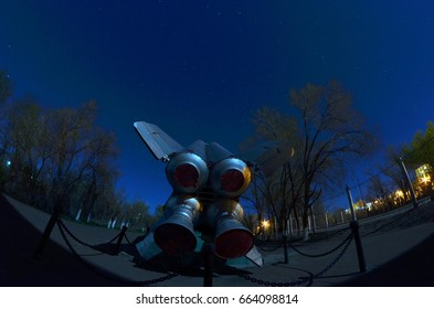 Museum of former Soviet  anti-ballistic missile testing range Sary Shagan at night time.May 7, 2017.Priozersk.Kazakhstan