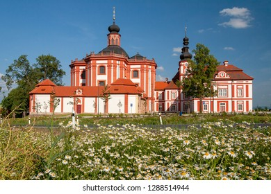 Museum and Gallery of the Northern Pilsen Region at Marianska Tynice. Baroque Church of the Annunciation and the Cistercian Provost Office built in the 18th century. Tynec, CZ.