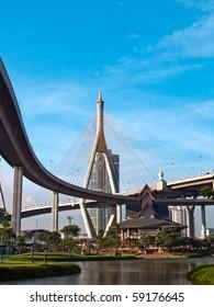 Museum of  Industrial Ring Road Bridge and Bhumibol Bridge, Samut Prakarn,Thailand